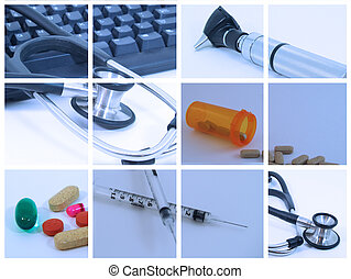 Collage of medical and healthcare devices used by medical professionals