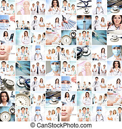 Medical collage. Professional doctors working in a clinic.