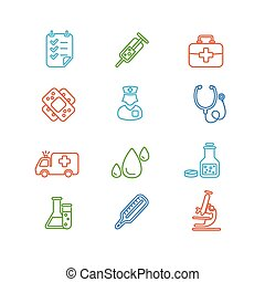 Medical Colorful Outline Icon Set. Vector