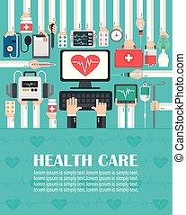 Medical computer with heart flat design. lorem ipsum is...