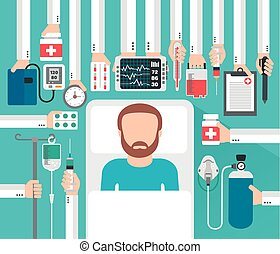 Medical concept design flat with  patient .Vector illustration