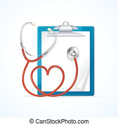 Medical Concept Stethoscope and Clipboard. Vector