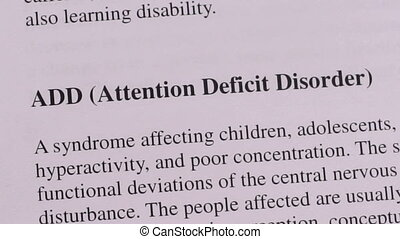 Close up shot of a person that could be a doctor or a nurse highlighting the medical term or condition Attention Deficit Disorder.