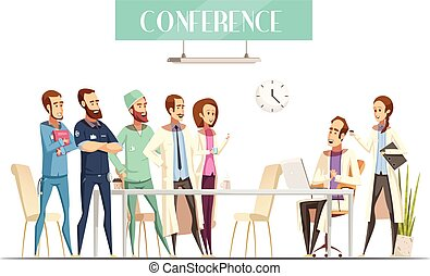 Medical Conference Cartoon Retro Style