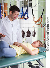 Medical consultation at physiotherapy clinic