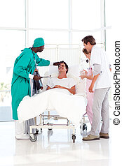 Medical consultation between a surgeon and a patient