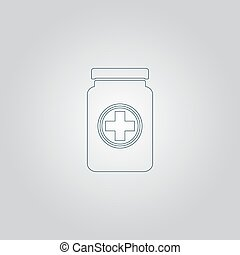 Medical container. Flat web icon or sign isolated on grey ...