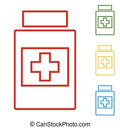 Medical container. Set of line icons