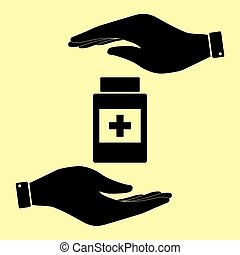 Save or protect symbol by hands. - Medical container sign....