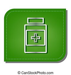 Medical container sign. Silver gradient line icon with dark green shadow at ecological patched green leaf. Illustration.