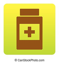 Medical container sign. Vector. Brown icon at green-yellow gradient square with rounded corners on white background. Isolated.