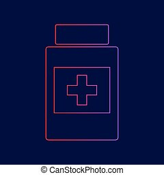Medical container sign. Vector. Line icon with gradient from red to violet colors on dark blue background.