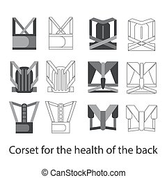Medical corset for posture and a healthy back. Set Line and fill illustrations.