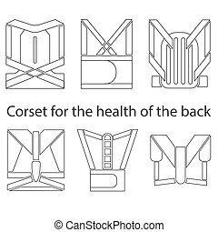 Medical corset for posture healthy back. Set of six types. fill illustrations.