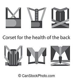 Medical corset for posture healthy back. Set of six types. Line illustrations.
