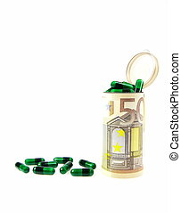 Medical costs in Euros - A conceptual image of medical costs...