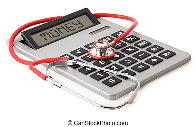 medical costs - a red stethoscope on a large calculator...