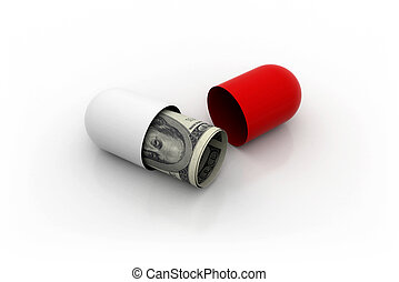 Medical costs - 3d illustration of red pill filled with...