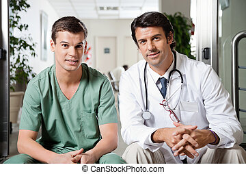Medical Coworkers Sitting Together - Portrait of multiethnic...