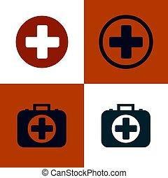 Medical cross and first aid kit. Set of medical symbols options. Flat design Vector Illustration