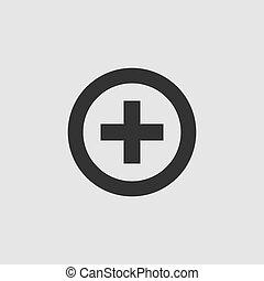 Medical cross icon flat