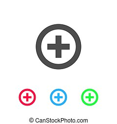 Medical cross icon flat
