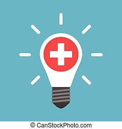 Medical cross in white glowing light bulb isolated on blue background. Creativity, education, medicine and solution concept. Flat design. Vector illustration. EPS 8, no transparency
