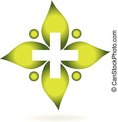 Medical cross leaf vector concept icon logo