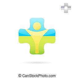 Medical cross logo with human body inside
