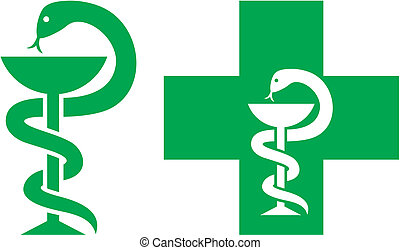 medical cross symbol (emblem for drugstore or medicine, green medical sign, snake and a bowl, bowl of hygieia, symbol of pharmacy, pharmacy snake symbol, medical