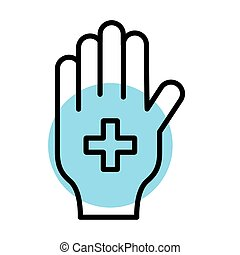 medical cross symbol in hand line style