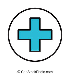medical cross symbol line and fill style