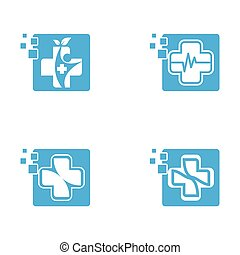 Medical cross symbol vector icon