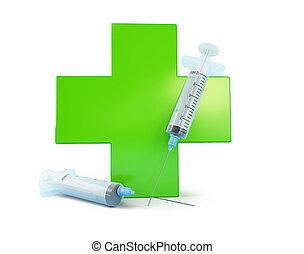 medical cross syringe on a white background 3D illustration, 3D rendering