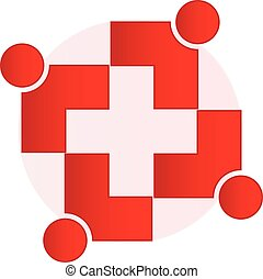 Medical cross teamwork logo
