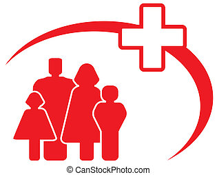 medical cross with family - red symbol - medical cross with...