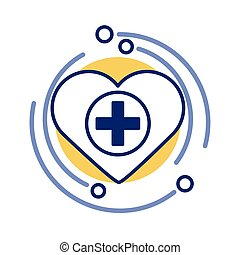 medical cross with heart symbol line style