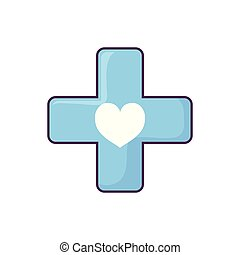 medical cross with heart
