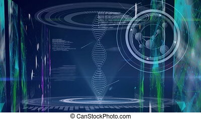 Animation of DNA strand spinning digital interface medical data data processing. Global technology medicine online network concept digitally generated image.