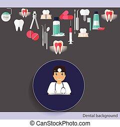 Medical dental background design. Dentist with teeth, drugs...