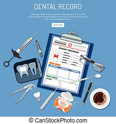 Medical Dental record concept with flat icons card of...