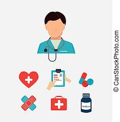 medical design - medical supplies design over gray...