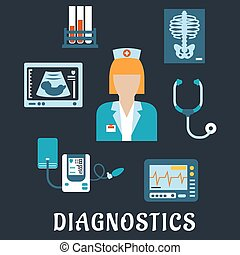 Medical diagnostic procedures flat icons