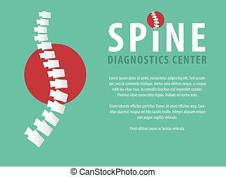 Medical diagnostic spine center, vector logo and presentation