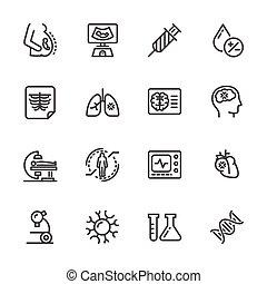 Medical diagnostics. Health check up. Vector line icons