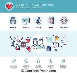 Medical diagnostics, medicine research laboratory vector concept for web design