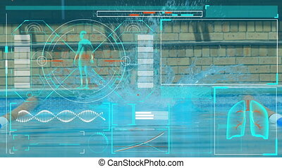 Animation of digital interface with scopes scanning and data processing over man jumping into swimming pool. Global computer network technology concept digitally generated image.