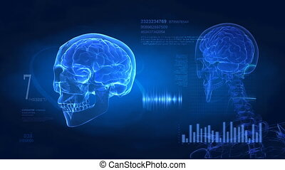 Medical display with brain pulse and data on blue background