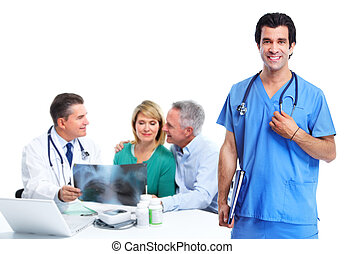 Medical doctor and elderly couple patient.