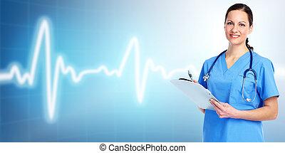 Medical doctor cardiologist. Over blue background.